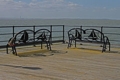 Southend Pier, Essex, looking over estuary. Texture and abstract composition Stock Photography
