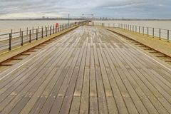 Southend Pier, essex, pier railway. Wide angle view along southend Pier, Essex on a freezing cold day england, uk Stock Images