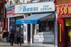 Rossi Ice Cream Parlour in Southend-on-Sea. SOUTHEND-ON-SEA, ESSEX - APRIL 18TH 2018: Rossi Ice Cream parlour located on Southend seafront in Southend-on-Sea in Stock Photos
