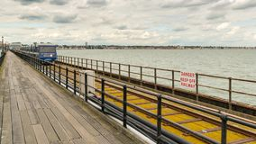Southend-on-Sea, Essex, England, UK. May 30, 2017: View from Southend Pier longest pleasure pier in the world towards Southend, with some people walking and Royalty Free Stock Image
