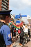 Southend on Sea, Essex, UK, 21 July 2018 Pride march,police watch royalty free stock image