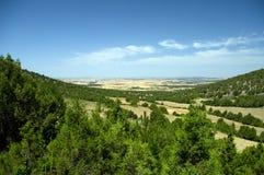 Southerly widok przez Hiszpańską równinę od Peña Cervera w Burgos regionie Hiszpania Obraz Stock