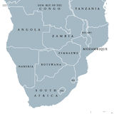 Southern Africa political map. With borders of the countries and English labeling. The southernmost region of the African continent. Gray illustration on white Stock Image