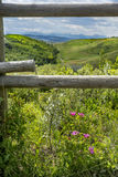 Southern Alberta Framed by Wooden Fence stock photo