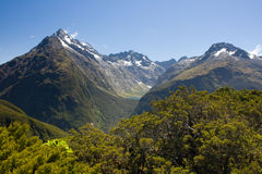 Southern Alps. Alpine terrine, forest and lake as seen from the very top of Key Summit in the heart of National Park Fiordland, Southern Island, New Zealand royalty free stock photos