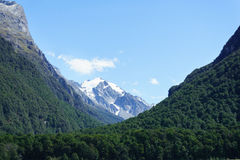 Southern Alps from edge of Dart River on the Rees Track in the Mount Aspiring National Park, Otago Stock Photos