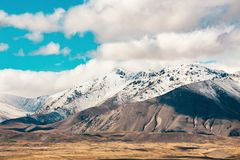 Southern Alps and Lake Tekapo. View from Mount John, Mackenzie Country, New Zealand royalty free stock photography
