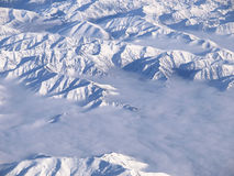 Southern Alps of New Zealand from above. View from the sky over New Zealand's Southern Alps royalty free stock images