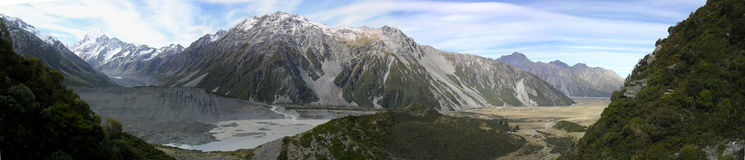 Southern Alps Panoramic. Panoramic view of the Southern Alps in New Zealand Stock Image