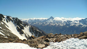 Southern Alps Panoramic. The Southern Alps in New Zealand looking over to Mount Cook Royalty Free Stock Image