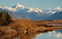 The Southern Alps Reflected in Lake Clearwater on a Sunny Day Royalty Free Stock Images