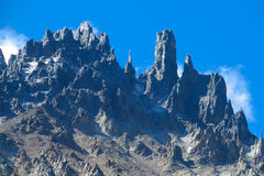 Southern Andes range Cerro Castillo in Chile. Southern Andes range rock towers in Chile. Trekking and hiling in Cerro Castillo snow capped peaks royalty free stock photos