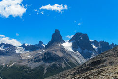 Southern Andes range Cerro Castillo in Chile. Southern Andes range rock towers in Chile. Trekking and hiling in Cerro Castillo snow capped peaks royalty free stock image