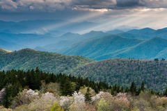 Southern Appalachian Mountain Spring Landscape Mountains and Sunlight Stock Photo