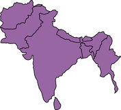 Southern Asia. Map vector illustration