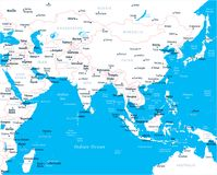 Southern Asia Map - Vector Illustration. Southern Asia Map - Detailed Vector Illustration Royalty Free Stock Images