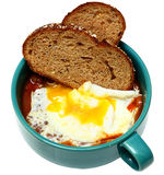 Southern Breakfast, Over Easy Fried Egg with Baked Beans and Toast. stock images