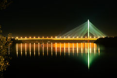 The Southern Bridge, Kiev, Ukraine. The Southern Bridge At Night, Long Exposure Stock Images
