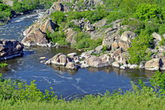 Southern Bug River. Spring day. Spring rough river with rocky shores Royalty Free Stock Photos
