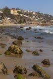 Southern California coastline with beach properties in backgroun Stock Photos