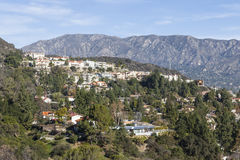 Southern California Hillside Homes. Upscale Los Angeles County hillside homes with San Gabriel mountains backdrop Stock Image