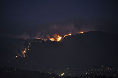 Southern California Station Fire at Night Stock Photography