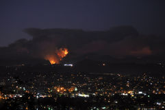 Southern California Station Fire at Night Royalty Free Stock Photo