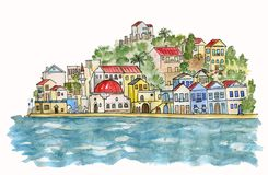 Southern city by the sea. Watercolor illustration. royalty free stock image