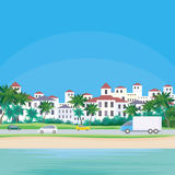 Southern coastal town. The image of a coastal town. The road along the sea. Beautiful summer landscape. Vector background royalty free illustration