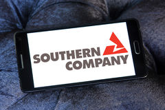 Southern company logo. Logo of the energy and home services company southern company on samsung mobile phone a5 royalty free stock image