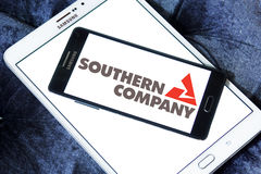 Southern company logo. Logo of the energy and home services company southern company on samsung mobile phone a5 on samsung tablet stock image