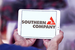 Southern company logo. Logo of energy and home services company southern company on samsung tablet stock photos