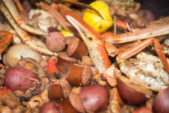 Southern country seafood and shrimp boil Royalty Free Stock Photos