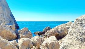 Southern Crimean coast. Sea rock blue royalty free stock photography