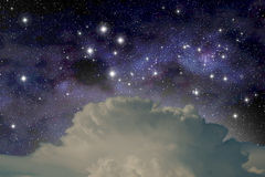 Southern Cross. The constellation of the Southern Cross above a cumulonimbus cloud vector illustration