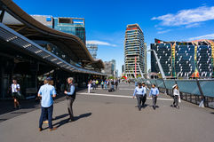 Southern Cross railway station bridge with people Royalty Free Stock Images