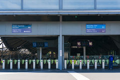 Southern Cross station entrance with pay gates and man entering Royalty Free Stock Photos
