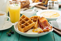 Southern cuisine breakfast with waffles Stock Photography