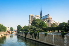 Southern facade of Notre-Dame de Paris. Paris, France Stock Image