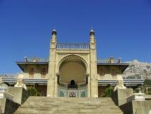 Southern facade of Vorontsov palace, Alupka, Crimea. Ukraine royalty free stock photography