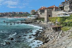 Southern Fortress Wall and Tower of the Old Town of Sozopol, Bulgaria Stock Image