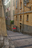 Southern France, city Nice: narrow street of the Old Town Stock Image