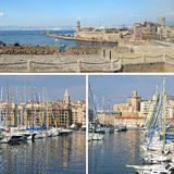 Southern France:  landmarks in Marseille, Old Port, collage Stock Photography