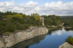 Southern France landscape with Gardon River Stock Photos