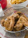 Southern Fried Chicken in a Basket with Fries Royalty Free Stock Photography