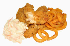 Southern Fried Chicken And Curly Fries Royalty Free Stock Image