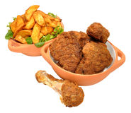 Southern Fried Chicken Portions And Wedges Royalty Free Stock Images