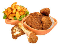 Southern Fried Chicken Portions And Wedges Royalty Free Stock Image
