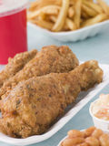 Southern Fried Chicken With Fries Royalty Free Stock Photos