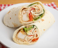 Southern Fried Chicken Wrap Sandwich. On plate Royalty Free Stock Photography